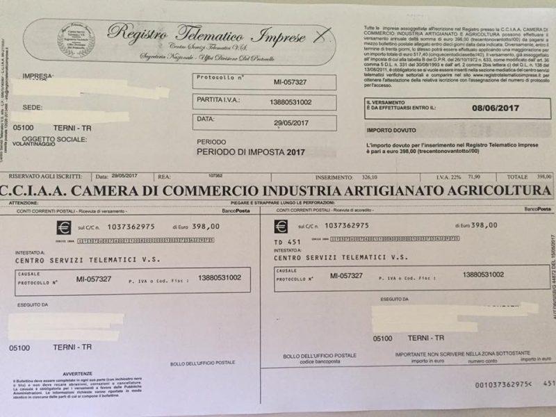 """Photo of Terni, la Camera di Commercio avverte: """"Circolano bollettini truffa"""""""